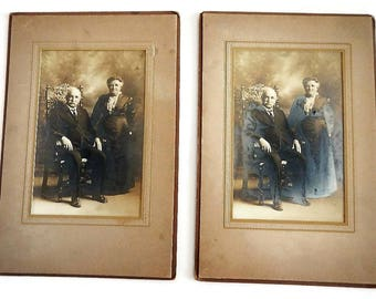 Antique Sepia Toned Photograph of Old Couple - woman, man, grandmother, grandfather, matte,vintage, photo,original,photography,Addison Tracy