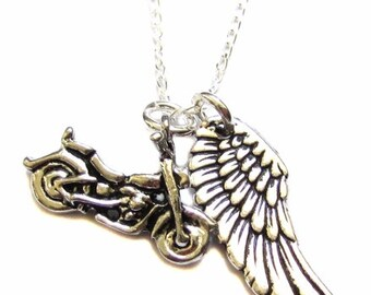 """Motorcycle Jewelry, Motorcycle Charm, Angel Wing Charm, Sterling Silver Necklace 18"""", Guardian Angel Gift, Safe Travels Gift"""