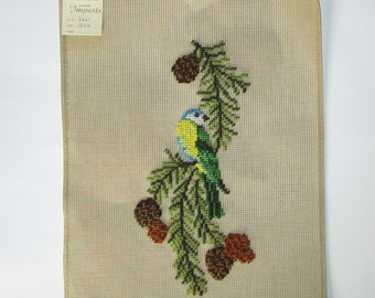 Blue Tit Bird Art, Preworked Needlepoint Canvas, Yellow Breasted Blue Tit