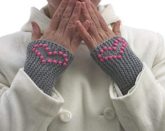 Knitted Cuffs, Gray,Bright  Pink Heart beaded design