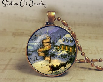 """Winter Wonderland with Horse and Sleigh - 1-1/4"""" Circle Pendant or Key Ring - Colorful Snowy Scene - Christmas Present or Holiday Gift"""