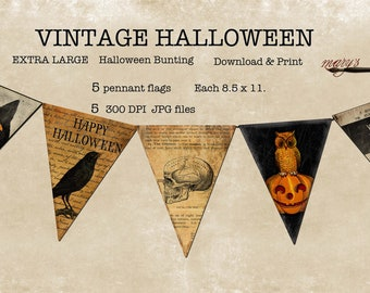 Halloween Bunting Pennant Flags Download Print   5  8.5 x 11   LARGE