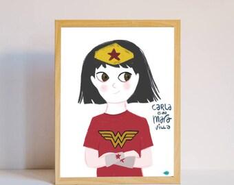 Print personalizable para niña o mujer wondergirl Wonderwoman