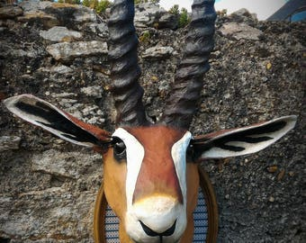 UNIQUE piece available - Trophy decorative handmade Gazelle head.