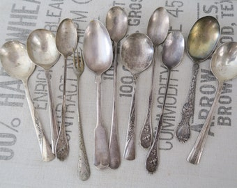 Vintage Silver Plated Spoon Flatware Silverware Collection Set of 11