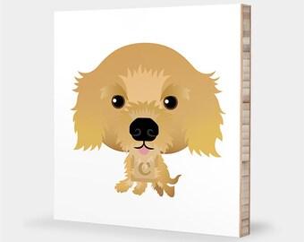 Cocker Spaniel art | Golden - Alphabet art, Pet portrait, Cocker Spaniel gift, Dog art, Cocker Spaniel print, Cocker Spaniel wall art