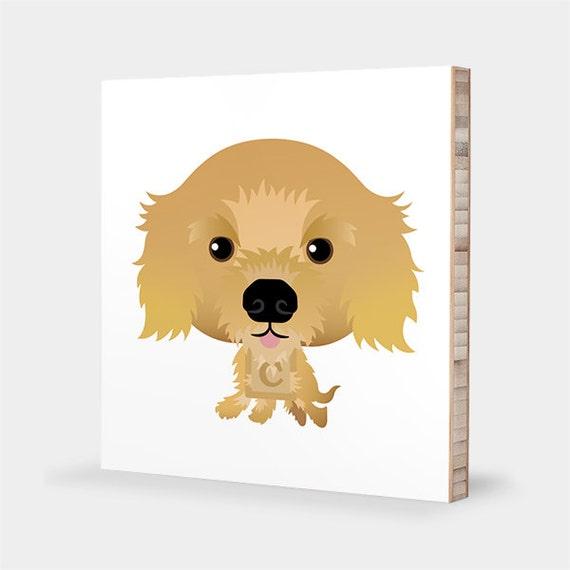 Cocker Spaniel art Golden Alphabet art Pet portrait
