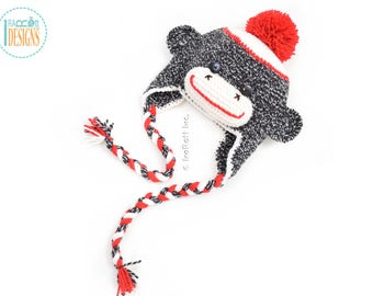 Classic Sock Monkey Hat with Red Pom Pom - READY to SHIP for Preschool Size
