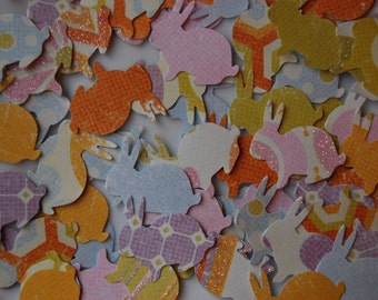 Fun Bunnies Confetti -- Set of 75 Bunnies -- Bunny Punch-Cut Outs-Baby Shower-Easter-Rabbit Party-Card Making Supplies-Scatter-Ready to Ship