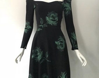 70s FLO TORONTO NYC glam dolly floral rayon Seventies does Forties dress xs vintage 1970s