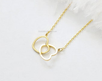 Two hearts necklace in gold, Double hearts necklace, gold entwined hearts, gold filled chain, gold twin hearts, dainty, wedding gifts