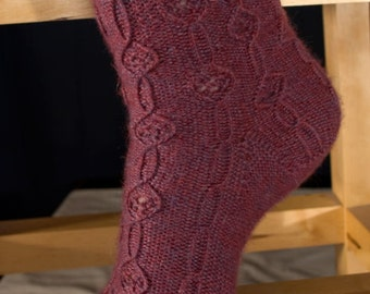 Twist and Lace Sock Knitting Pattern - PDF