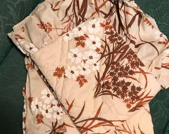 Two Vintage 1970's Burnt Orange Floral Ruffelled Standard Pillowcases