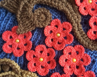 Crochet Flowers.Embellished Handmade Flowers.Freeform Crochet Flowers.Knitted Flowers Applications.Set of 10 Flowers and 2 Leaves.