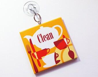 Lave-vaisselle signe avec ventouse, fonctionne sur l'acier inoxydable, propre plats signe, signe de vaisselle sale, lave-vaisselle signe, signe de cuisine (7286)