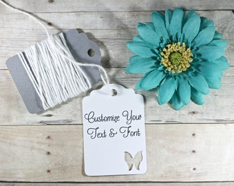 Custom White Butterfly Tags 20pc - White Wedding Favor Tags - Butterfly Party Tags - Thank You Bridal Shower Labels - Baby Shower