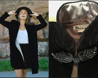 Vintage 70s Black Velvet JACKET Full Length PATRA Swing Coat Dress Jacket