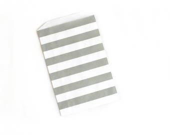 Gray Striped Bags // Gray Favor Bags // Silver Treat Bags // Flat Paper Bags 7.5x5 (Set of 25)