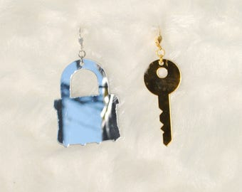 Acrylic Padlock and Key Earrings // Laser Cut // Silver & Gold