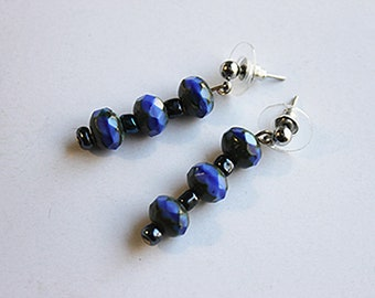 Faceted Indigo Earrings