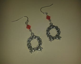 Red and silver Christmas Wreath earrings
