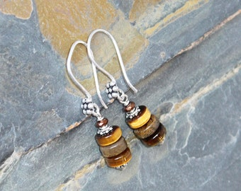 Tiger Eye Earrings, Tree Earrings, Bohemian Earrings, Natural Stone Earrings, Spring Earrings, Brown Earrings, Plant Earrings