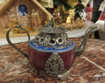 CHINA CLOISONNE TEAPOT with Monkey on Lid