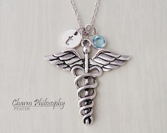 Caduceus Necklace - Medical Symbol Charm - Doctor Necklace - Monogram Personalized Initial and Birthstone