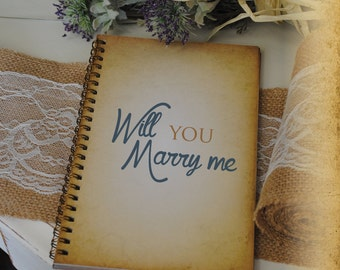 Journal Romance Love -Will You Marry Me, Custom Personalized Journals Vintage Style Book