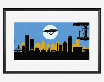 Boston Skyline print, Good Bye Mr. Spock, for Star Trek actor Leonard Nimoy tribute, Boston 1931 - Los Angeles 2015, Mr. Spock print, poster
