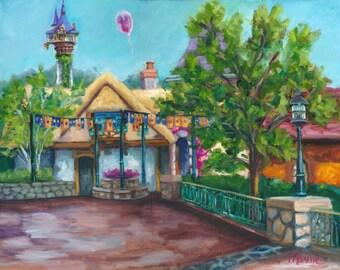 Magical break, oil painting, landscape painting, fantasy, original art