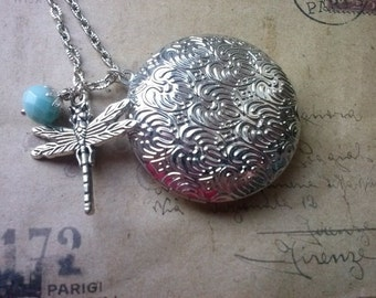 Round Locket necklace with Dragonfly ~ silver ~
