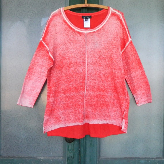 Tribal Transitional 3/4 Sleeve Pullover Sweater -L- Distressed Red Cotton/Viscose NWT