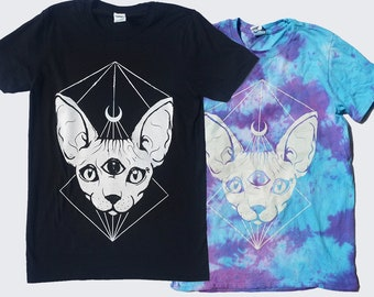 T-shirt Bundle  Crescent Moon Sphynx Cat Unisex T-shirt Hipster Indie Swag Dope Hype Black White Mens Womens Cute Halloween
