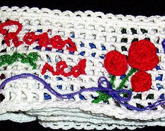 Crocheted Booklet - Roses Are Red