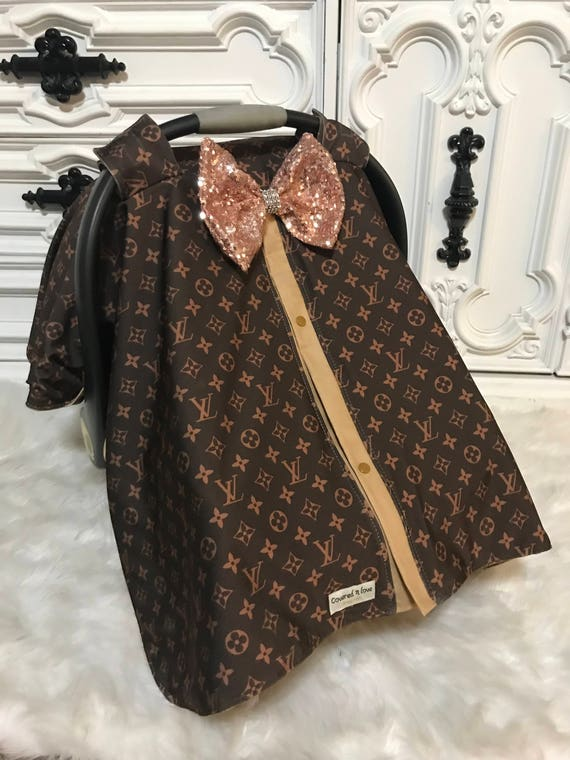 car seat canopy ,rose gold JUMBO bow ,  LV print with camel accents , perfect for him or her