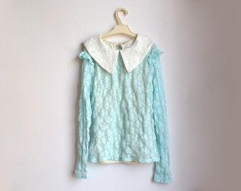 Aqua Blue Lace Top Collared Blouse White Collar Romantic Small S XS