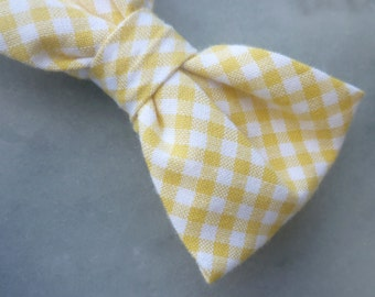 Yellow Gingham Bow tie - clip on, pre-tied with strap or self tying - ring bearer outfit wedding ties