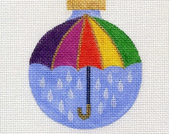 Colorful April Showers Umbrella Needlepoint Ornament - Jody Designs   B32