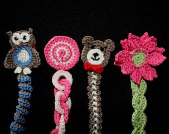 Sweet Baby Soother or Pacifier Clip or Applique pdf PATTERNS (digital download), owl, teddy bear, flower, circles, crochet for baby