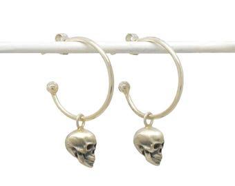 Skull Hoop Earrings - Silver Skull Stud Hoops - Skull Jewellery - Gothic Jewellery - Contemporary Skull Earrings - Sterling Silver