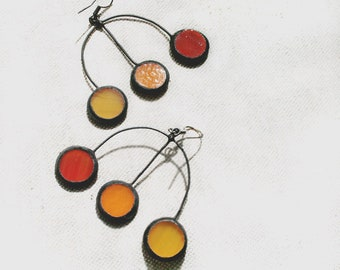 Statement earrings, Fall colors, trident earrings unique, Orange Red Yellow, Art Jewelry For Her
