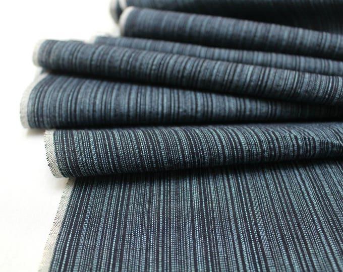Japanese Kasuri Ikat. Tusmugi Cotton. Traditional Kimono Bolt of Striped Fabric. (Ref: 1864)