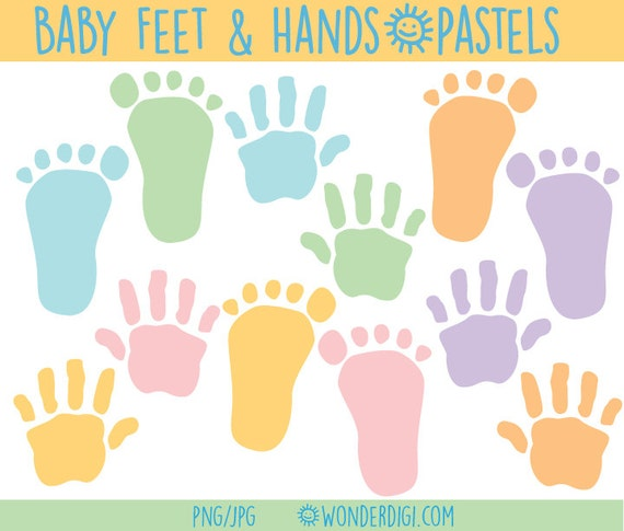 Items Similar To Baby Clipart Baby Foot Prints And Hand