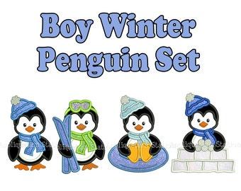 Penguin Boy Set of 4 Applique Machine Embroidery Design Cute Christmas sledding, tubing, skiing, ski INSTANT DOWNLOAD
