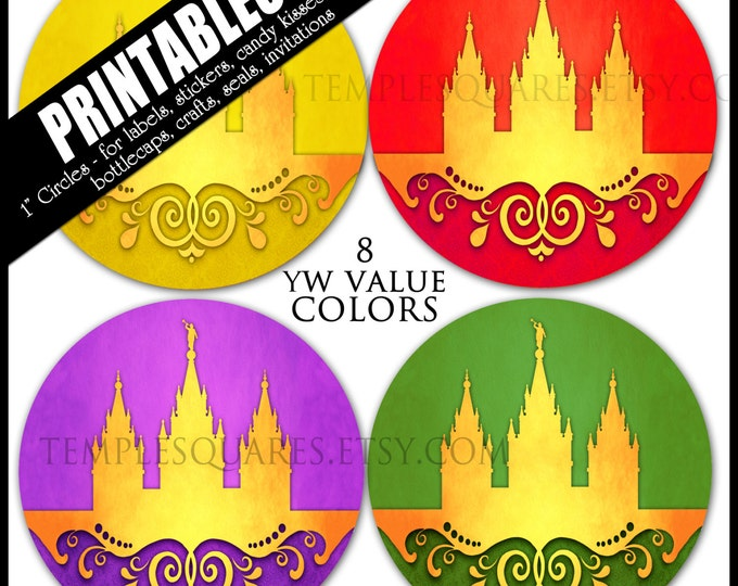 "YW Young Women Values Colors Printable 1"" inch circles.  matches ""Press Forward"" mutual 2016 theme  labels, stickers, or necklace kits"