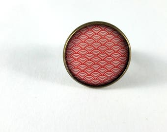 Ring adjustable red Japanese waves pattern
