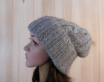 Gray Women Winter Slouchy Beanie knit Hat Gray wool chunky knitted hat Womens Slouch Beanie