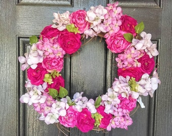 Pink Spring Wreath Front Door, 18 or 24 Inches, Front Door Wreaths, Door Wreaths, Summer Wreath Front Door, New Home Housewarming Gift