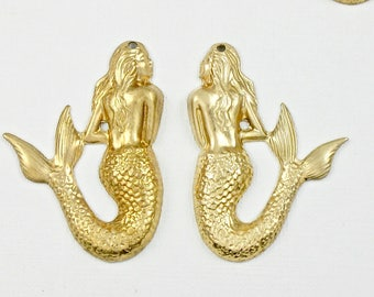 6 Goddess MERMAID brass pendants LEFT and RIGHT sides available 35mm x 26mm (S5).